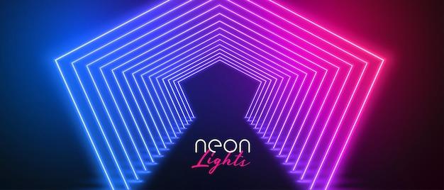 Neon-bühnenboden in rosa und blauen farben