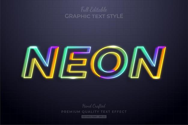 Neon bunte linie bearbeitbarer texteffekt-schriftstil