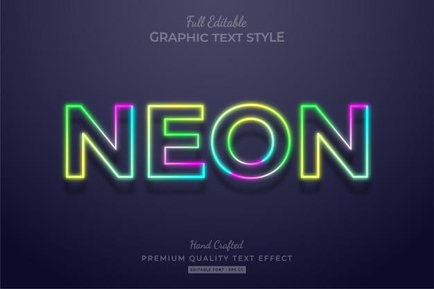 Neon bunter farbverlauf bearbeitbarer texteffekt-schriftstil