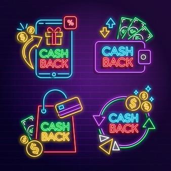 Neon cashback zeichensammlung