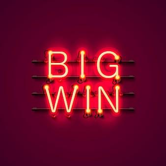 Neon casino großes gewinnschild auf rotem hintergrund. vektor-illustration