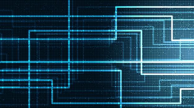 Neon circuit microchip auf technologischem hintergrund, hightech-digital- und netzwerkkonzept