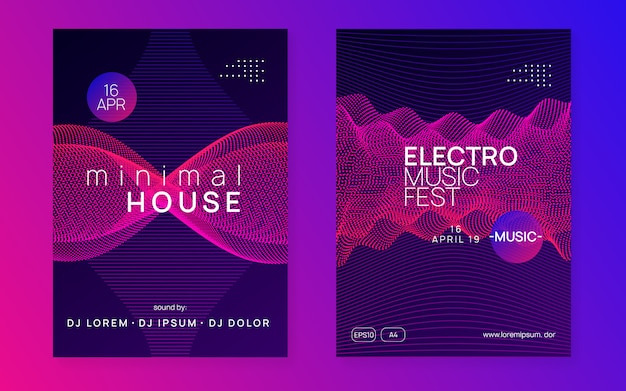 Neon club flyer. electro dance musik. tranceparty dj. electroni