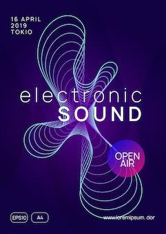 Neon club flyer. electro dance musik. tranceparty dj. elektronisches soundfest. techno event poster.