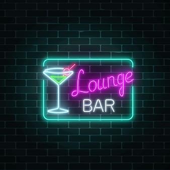 Neon cocktails lounge bar zeichen im rechteckigen rahmen.