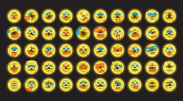 Neon color line icon satz von bubble-emoticons für web und mobile. moderne minimalistische flache designelemente des leuchtenden emoji