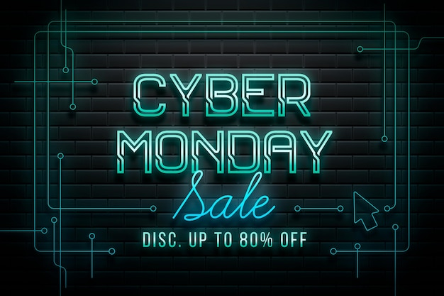 Neon cyber montag banner