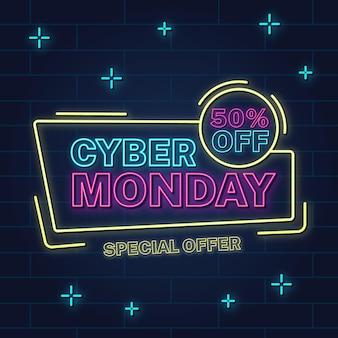 Neon cyber montag konzept