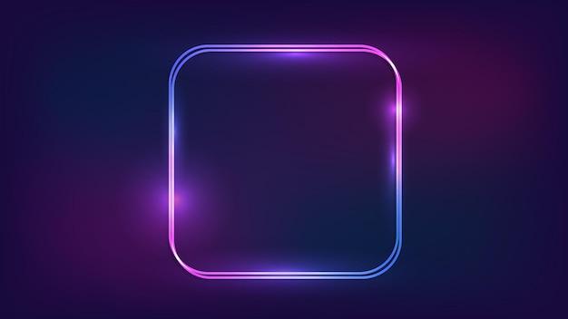 Neon doppelt abgerundeter quadratischer rahmen mit glänzenden effekten auf dunklem hintergrund. leere leuchtende techno-kulisse. vektor-illustration.