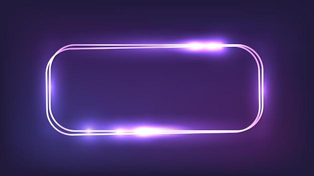Neon doppelt abgerundeter rechteckiger rahmen mit glänzenden effekten auf dunklem hintergrund. leere leuchtende techno-kulisse. vektor-illustration.