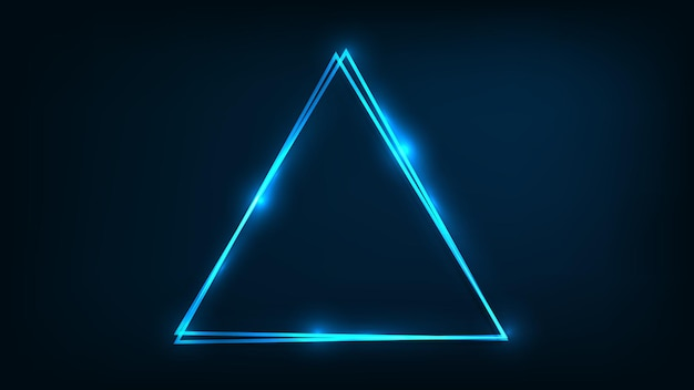 Neon-doppelter dreieckiger rahmen mit glänzenden effekten auf dunklem hintergrund. leere leuchtende techno-kulisse. vektor-illustration.