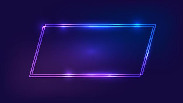 Neon-doppelviereck-rahmen mit glänzenden effekten auf dunklem hintergrund. leere leuchtende techno-kulisse. vektor-illustration.