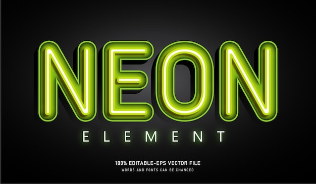 Neon element text effect bearbeitbare schrift