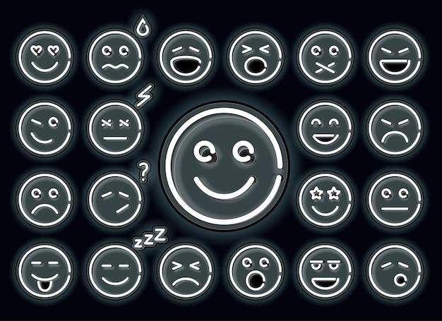Neon-emotionen eingestellt. set von emoticons, leuchtende emojis auf schwarzem hintergrund isoliert.