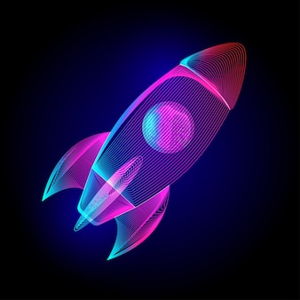 Neon fliegende rakete. startschild für unternehmensgründung. im ultravioletten drahtgitter-strichgrafikstil auf dunklem hintergrund