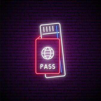 Neon-flugticket-zeichen