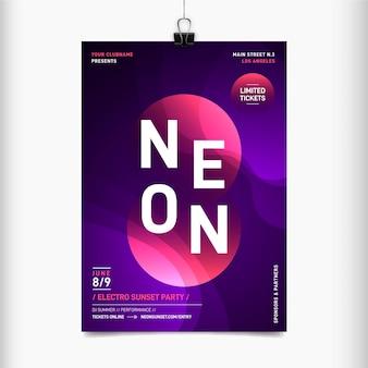 Neon flyer für musikfestival