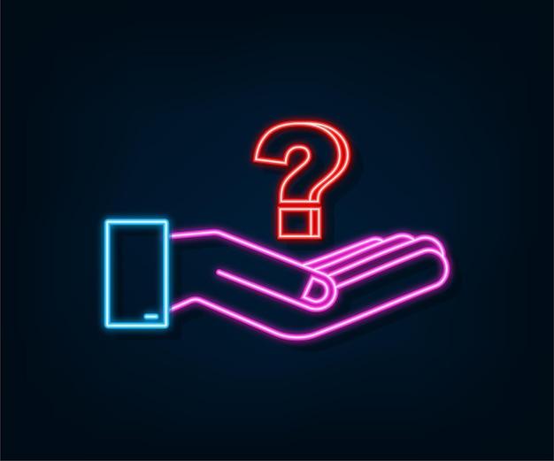 Neon-fragezeichen in den händen für konzeptdesign-technologie-vektorillustration