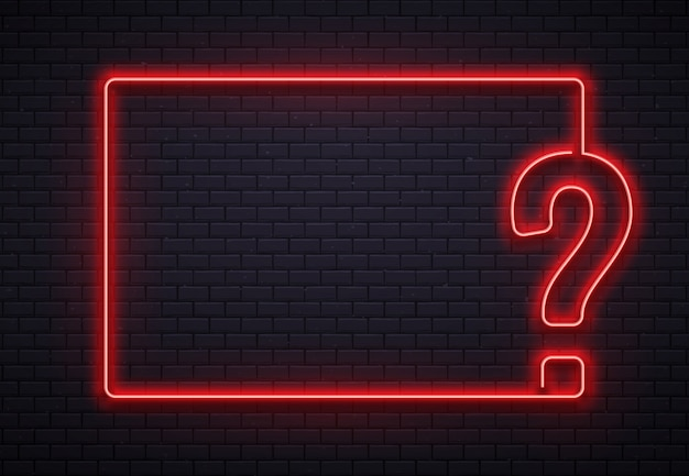 Neon fragezeichenrahmen. quizbeleuchtung, abfragepunkt rote neonlampe auf backsteinwandbeschaffenheitshintergrundillustration