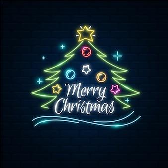 Neon fröhlicher weihnachtsbaum