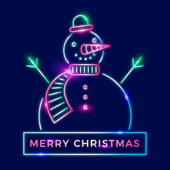 Neon frohe weihnachten schneemann illustration