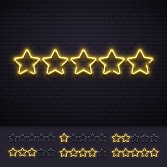 Neon fünf sterne. goldene belichtete sternneonlampen auf backsteinmauer. goldhelle luxusbewertungszeichen-vektorillustration