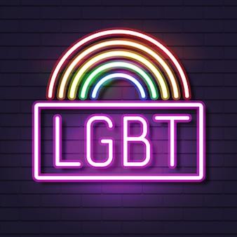 Neon gay pride auf einer backstein-regenbogen-spektrum-flagge, ein emblem der homosexualität. konzept der lgbt-rechte.