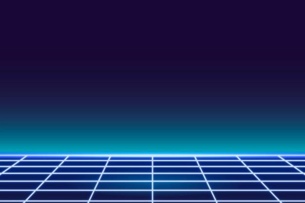Neon-gemusterter hintergrund mit blauem gitter