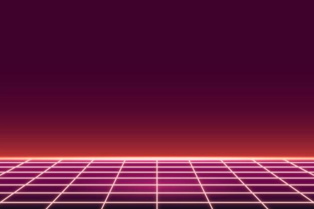 Neon gemusterter hintergrund mit rotem gitter