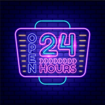 Neon geöffnet 24 stunden schild leuchtet