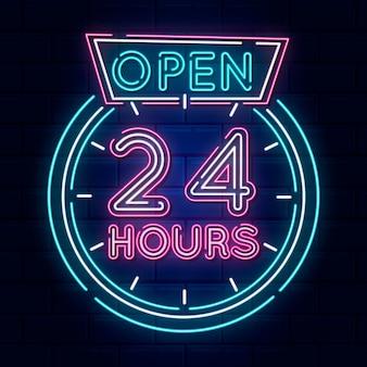 Neon geöffnet 24 stunden schild