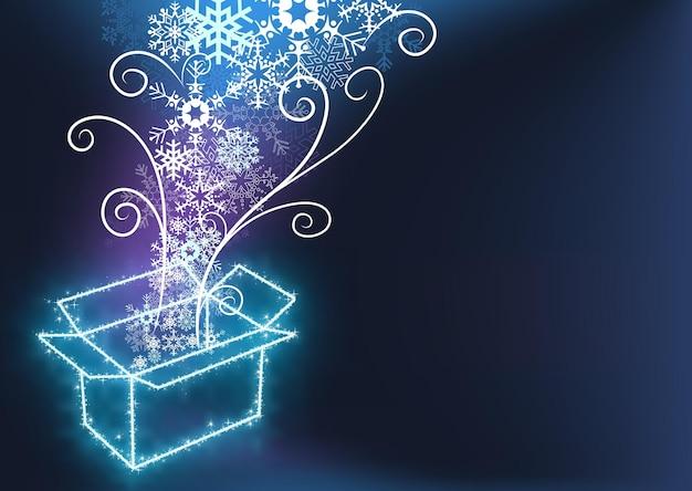 Neon-geschenkbox mit magischen schneeflocken und wirbeln mit lichteffekten