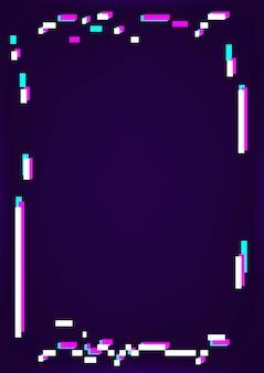 Neon-glitch-rahmen auf dunklem hintergrund