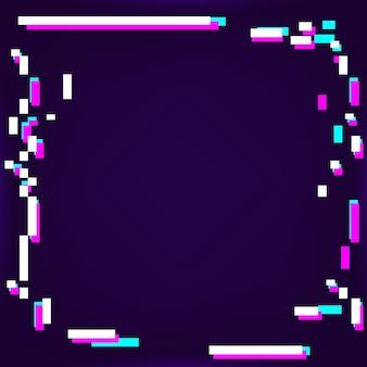 Neon glitched rahmen auf einem dunkelvioletten hintergrund