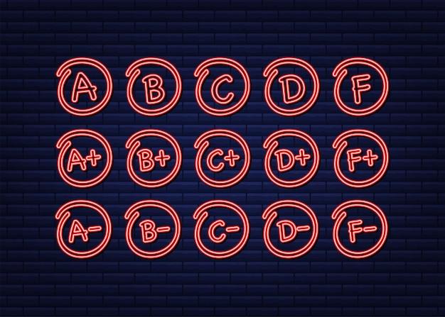 Neon-grade-ergebnisse. handgemalt. vektorgrafik auf lager.