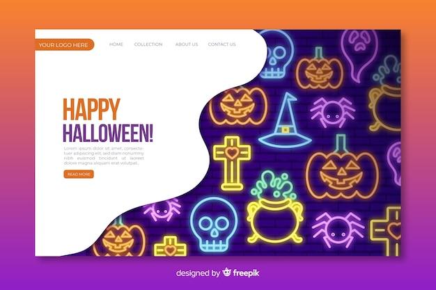 Neon halloween landing page vorlage