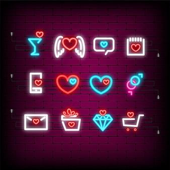 Neon happy valentines day gesetzte ikone