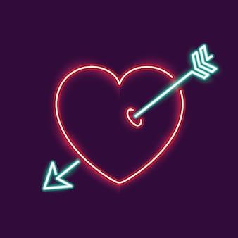 Neon-herz und pfeil-symbol