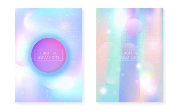 Neon-hintergrund. blaue retro-form. memphis-punkte. holographische textur. minimales design. trendiger flyer. rundes plakat. weiches futuristisches magazin. violetter neon-hintergrund
