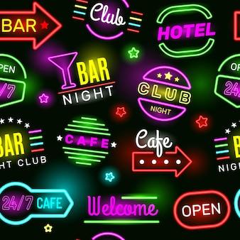 Neon hotelmuster. nahtloser hintergrund des weinlesekino-beschilderungslogos.