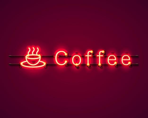 Neon-kaffee-textsymbol-schild auf rotem hintergrund. vektor-illustration
