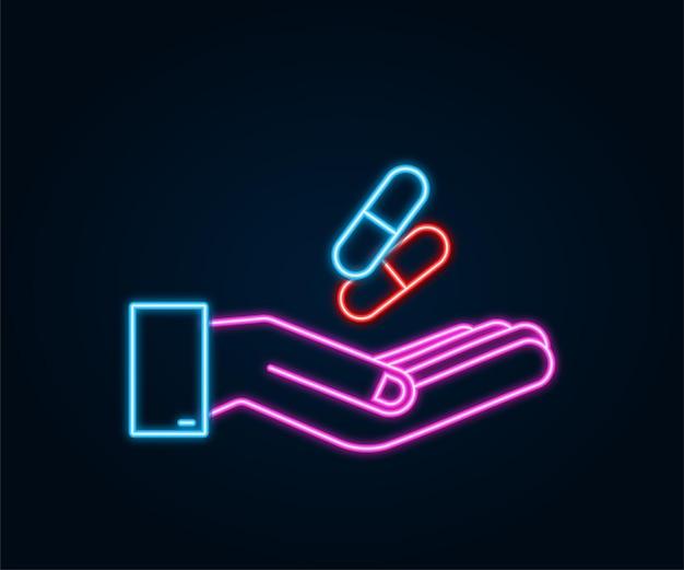 Neon-kapselpillen in den händen realistische pillenblister mit kapseln auf weißem hintergrund