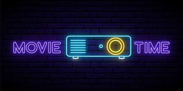 Neon kino projektor zeichen.