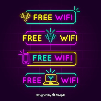 Neon kostenlose wifi zeichen sammlung