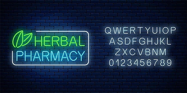 Neon-kräuterapotheke-schild mit alphabet auf dunklem backsteinmauerhintergrund. 100 prozent natürliche medikamente speichern leuchtendes werbesymbol. vektor-illustration.