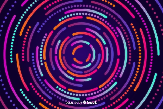 Neon kreisförmige formen hintergrund