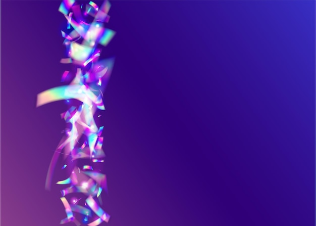 Neon-lametta. blauer retro-glitter. kaleidoskop konfetti. glitch-effekt. moderne folie. glänzendes element. unschärfe mehrfarbige abbildung. kristallkunst. lila neon-lametta