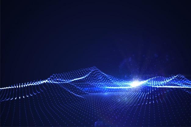 Neon leuchtende cyberlandschaft mit linseneffekt. futuristische darstellung verzerrter erleichterung.