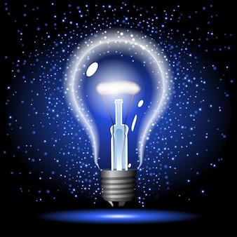 Neon leuchtende glühbirne mit glanz