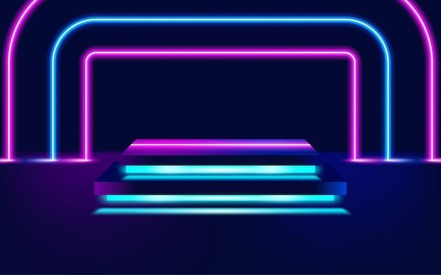 Neon leuchtende linien, konzept des magischen energieraumlichts. illustration